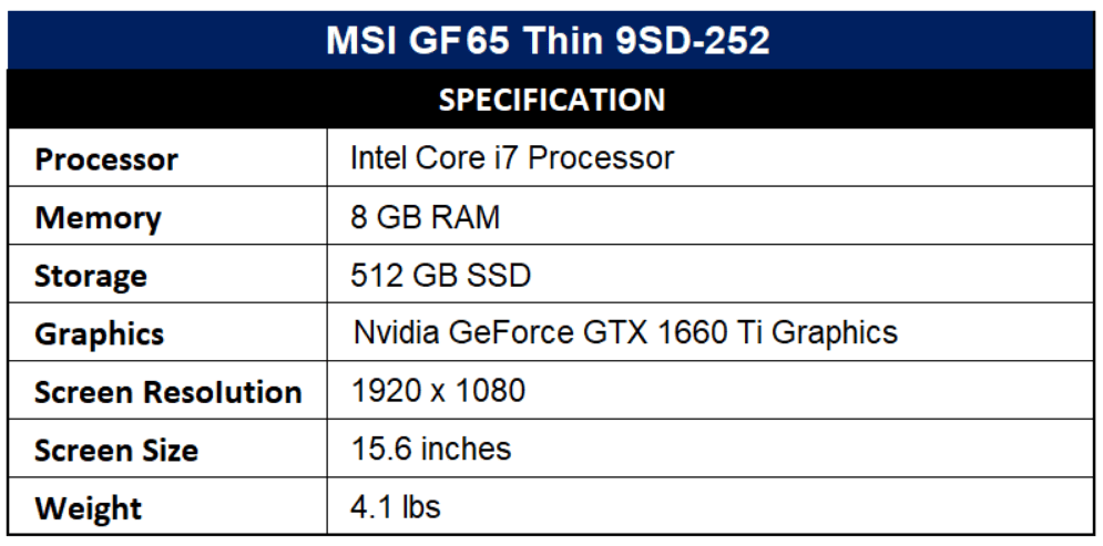 MSI GF65 Thin 9SD-252 Specification
