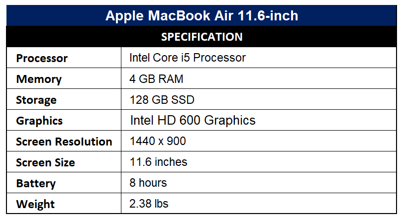 Apple MacBook Air 11.6-inch Specification