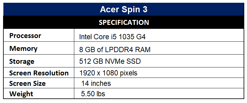 Acer Spin 3 Specification