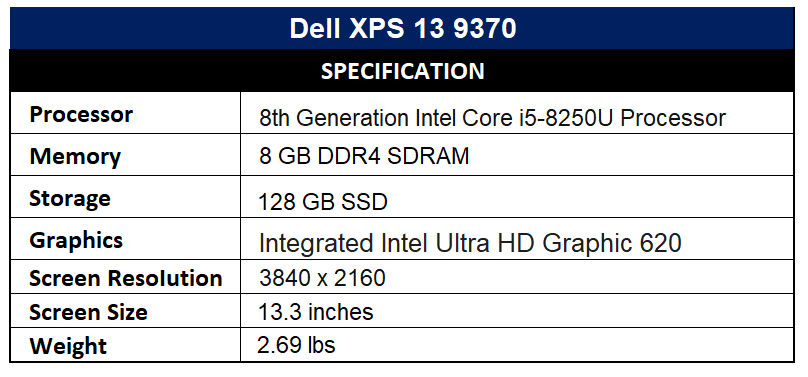 Dell XPS 13 9370 Specification