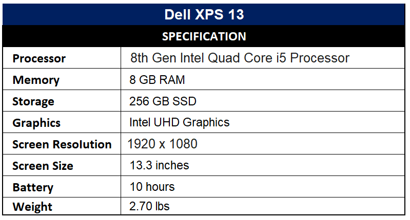Dell XPS 13 Specification