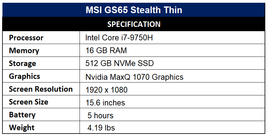 MSI GS65 Stealth Thin Specification