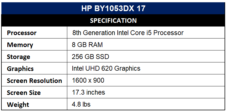 HP BY1053DX 17 Specification