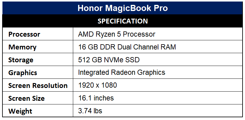 Honor MagicBook Pro Specification