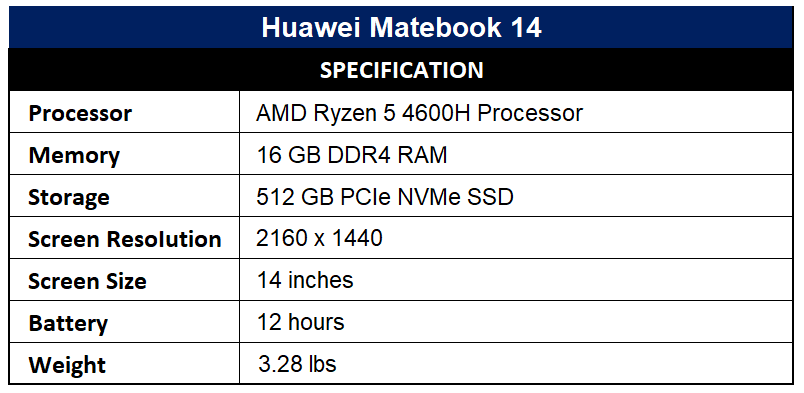 Huawei Matebook 14 Specification