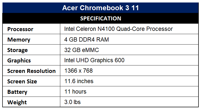 Acer Chromebook 3 11 Specification