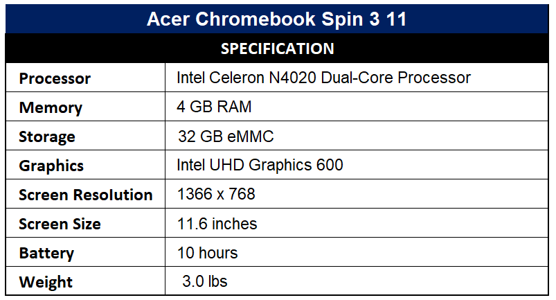 Acer Chromebook Spin 3 11 Specification