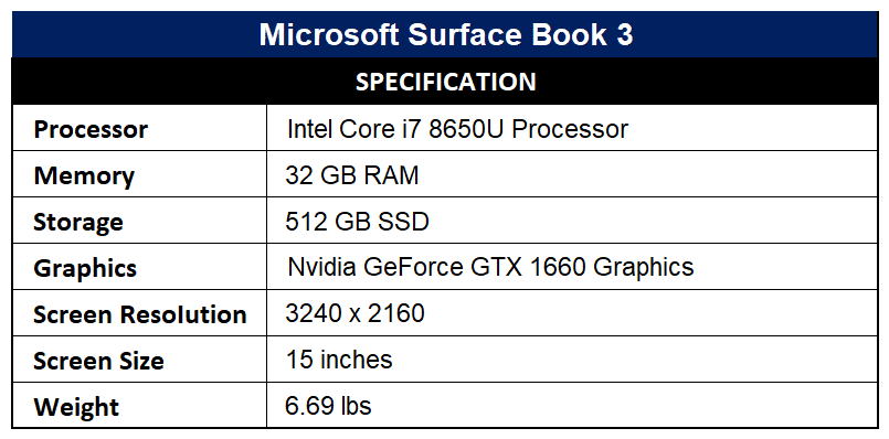 Microsoft Surface Book 3 Specification