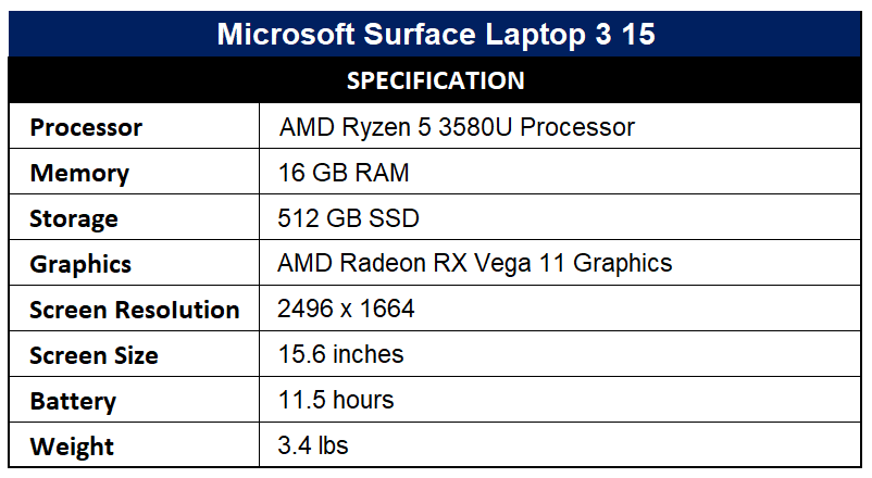 Microsoft Surface Laptop 3 15 Specification