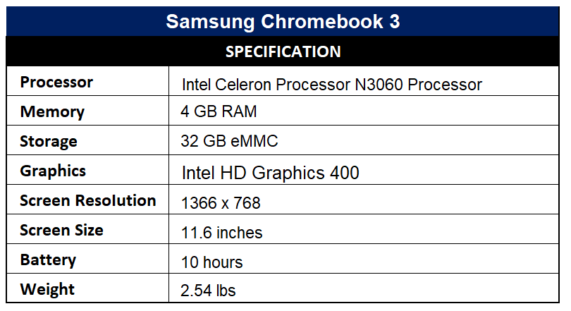 Samsung Chromebook 3 Specification