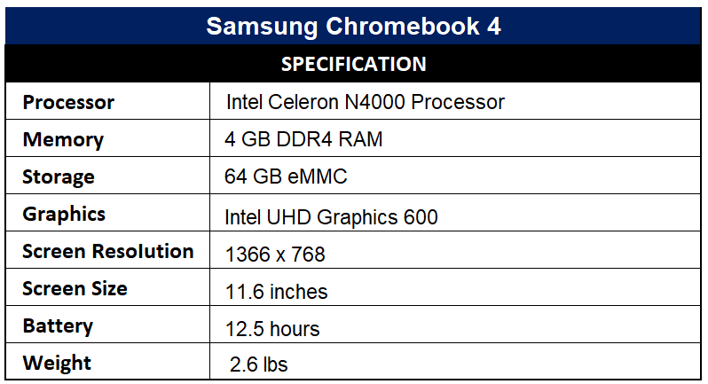 Samsung Chromebook 4 Specification