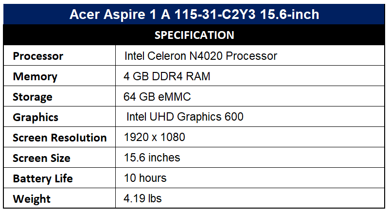 Acer Aspire 1 A 115-31-C2Y3 15.6-inch Specification