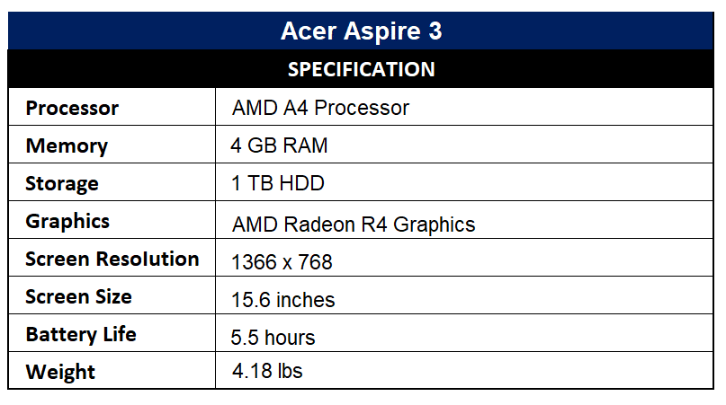 Acer Aspire 3 Specification