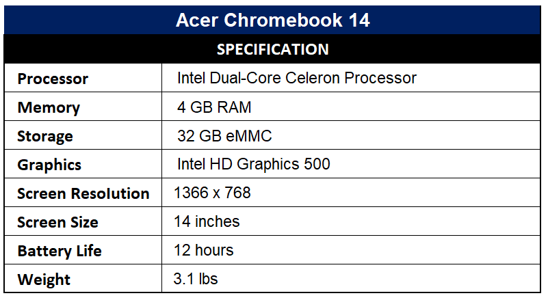 Acer Chromebook 14 Specification