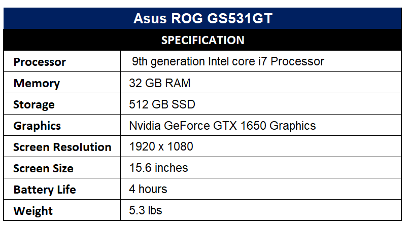 Asus ROG GS531GT Specification