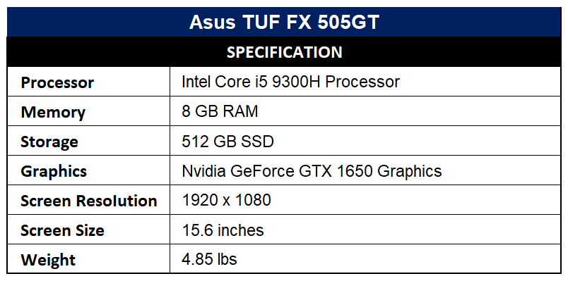 Asus TUF FX 505GT Specification