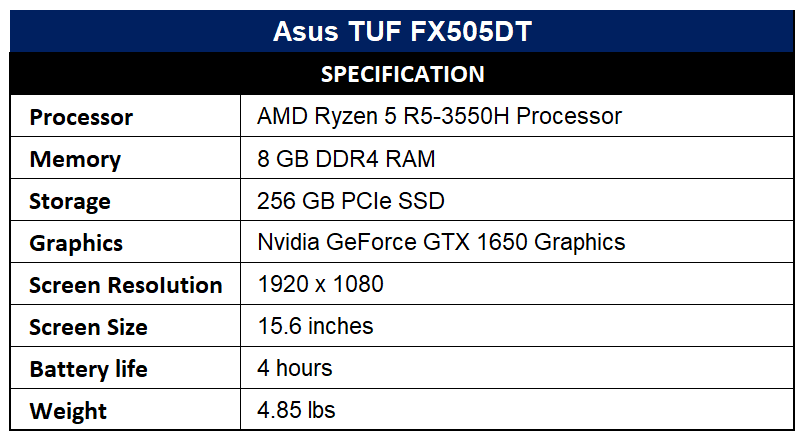 Asus TUF FX505DT Specification