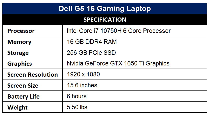 Dell G5 15 Gaming Laptop Specification