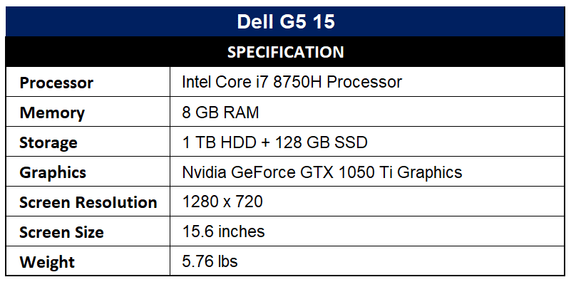 Dell G5 15 Specification