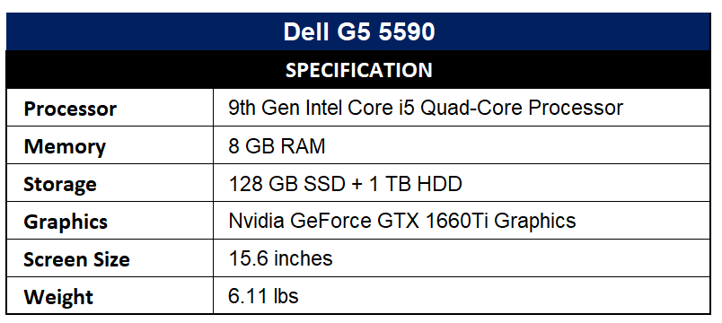 Dell G5 5590 Specification