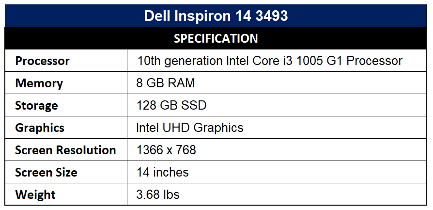 Dell Inspiron 14 3493 Specification