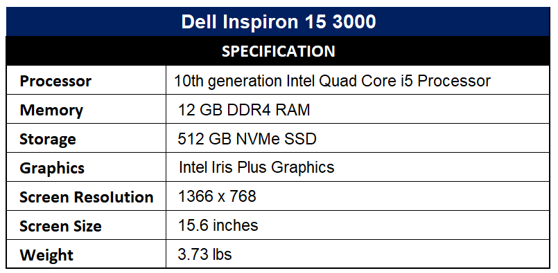 Dell Inspiron 15 3000 Specification