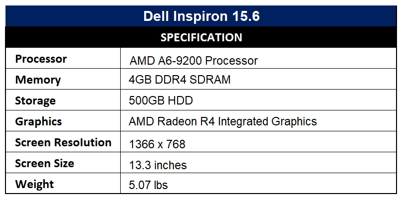 Dell Inspiron 15.6 Specification