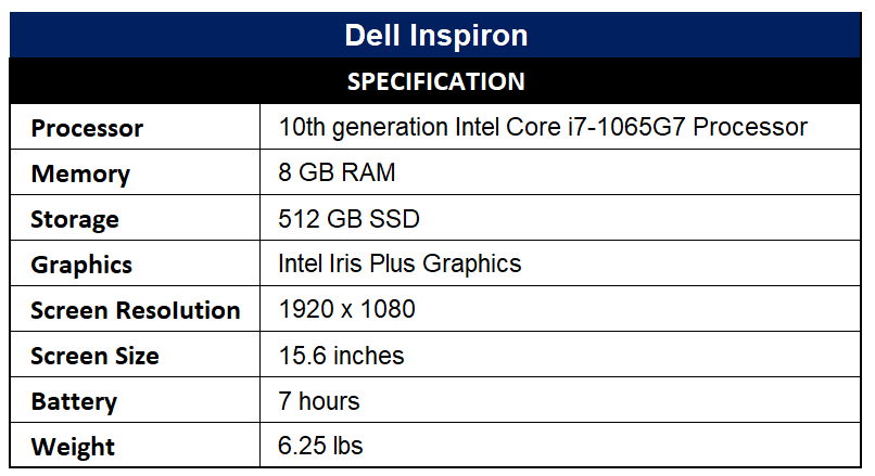 Dell Inspiron Specification