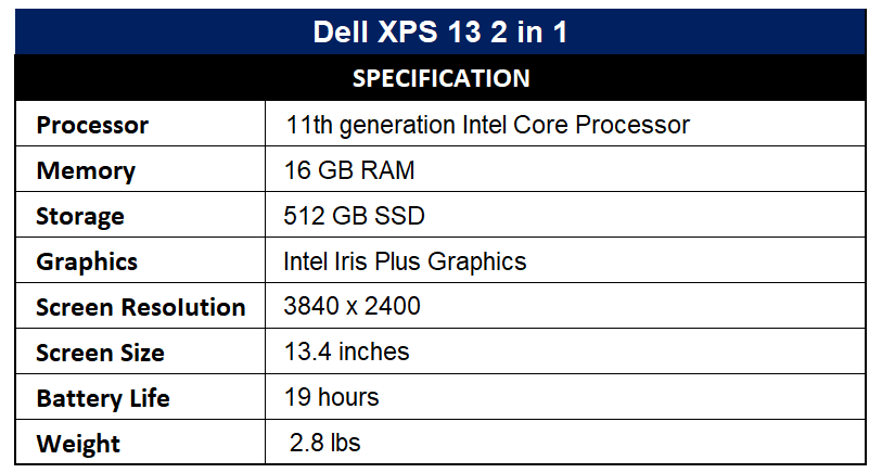 Dell XPS 13 2 in 1 Specification
