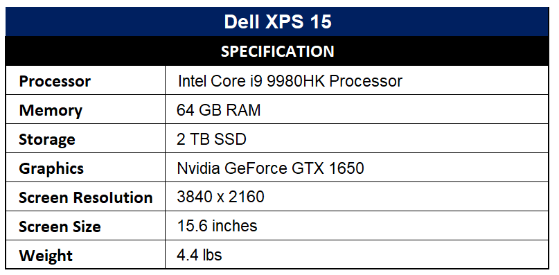 Dell XPS 15 Specification