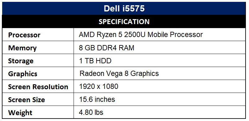 Dell i5575 Specification