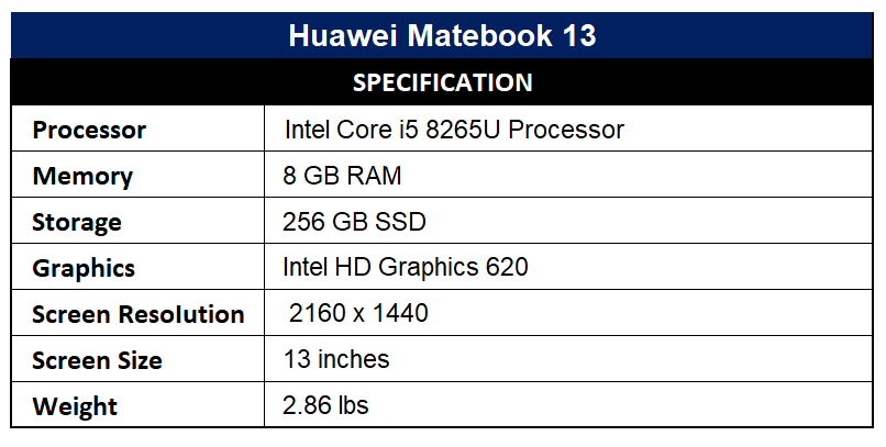 Huawei Matebook 13 Specification
