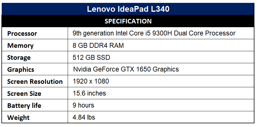 Lenovo IdeaPad L340 Specification