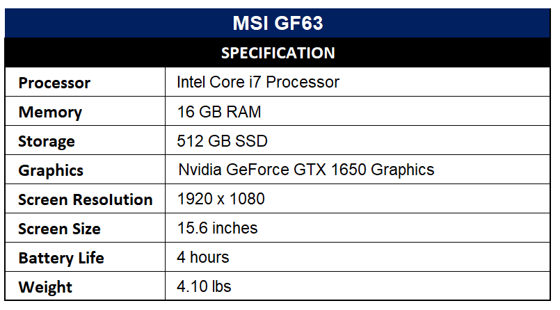 MSI GF63 Specification