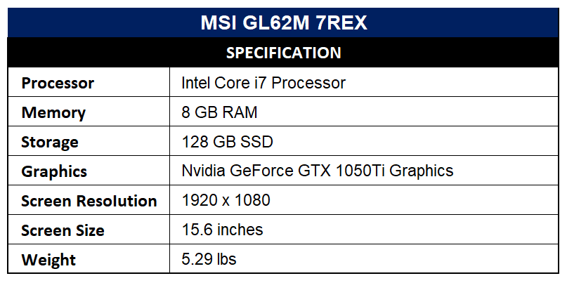 MSI GL62M 7REX Specification
