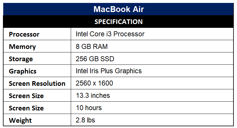 MacBook Air Specification