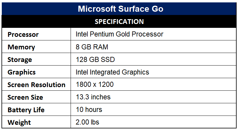 Microsoft Surface Go Specification