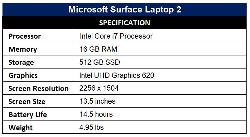 Microsoft Surface Laptop 2 Specification