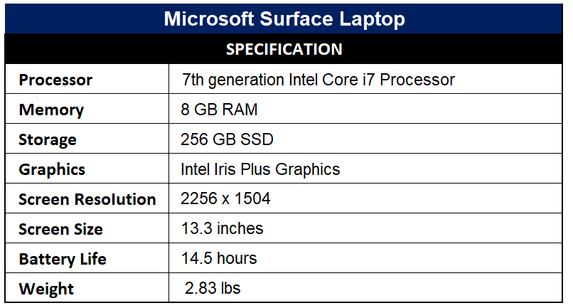 Microsoft Surface Laptop Specification