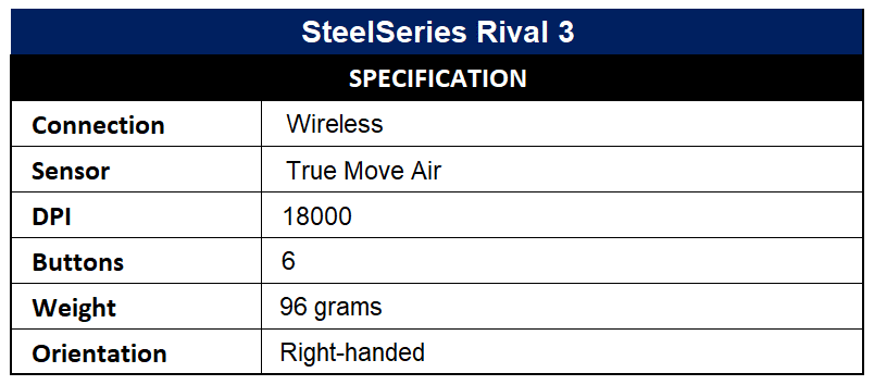 SteelSeries Rival 3 Specification