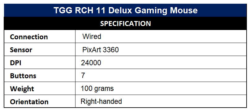 TGG RCH 11 Delux Gaming Mouse Specification