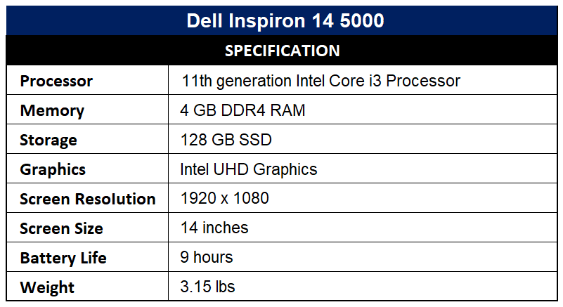 Dell Inspiron 14 5000 Specification