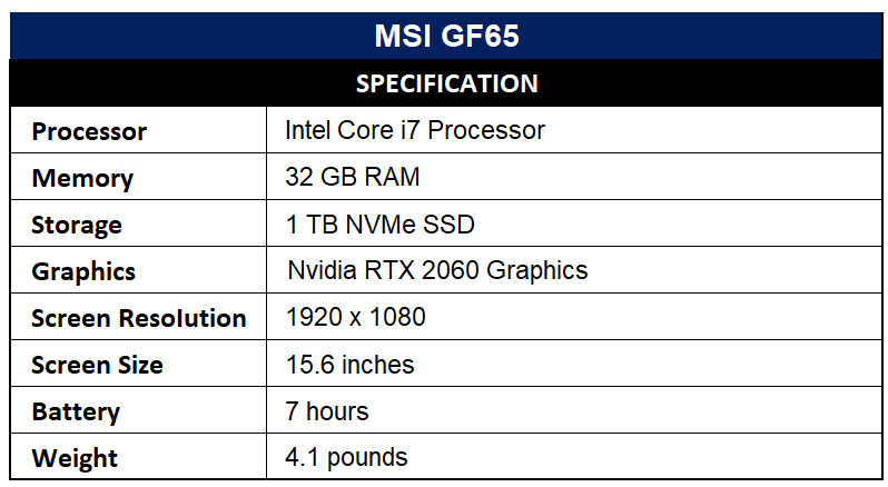MSI GF65 Specification