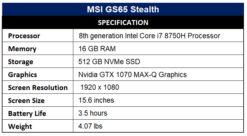 MSI GS65 Stealth Specification