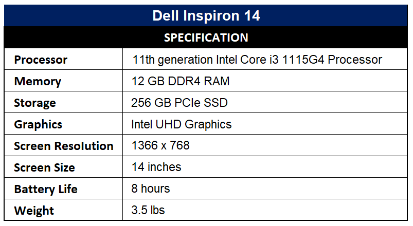 Dell Inspiron 14 Specification