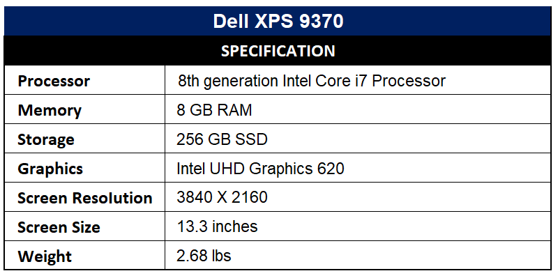 Dell XPS 9370 Specification