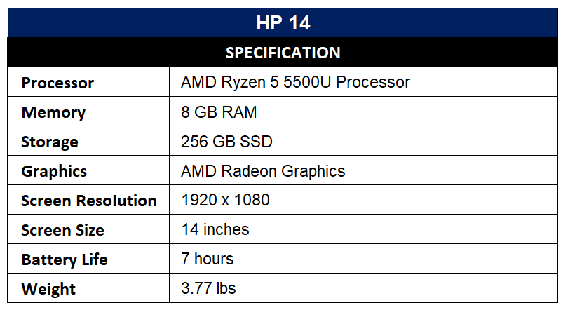 HP 14 Specification