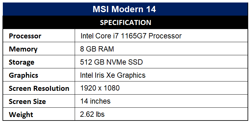 MSI Modern 14 Specification